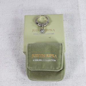 Pretty! Judith Ripka SS Ornate Drop Heart Ring